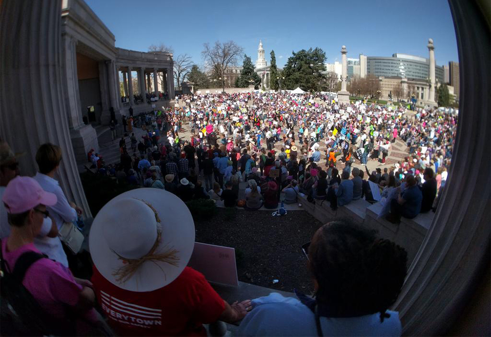 The tax day tax march processes out of Civic Center Park, April 15, 2017. (Kevin J. Beaty/Denverite)  tax day; tax march; protest; copolitics; kevinjbeaty; denver; denverite; colorado; civic center park;