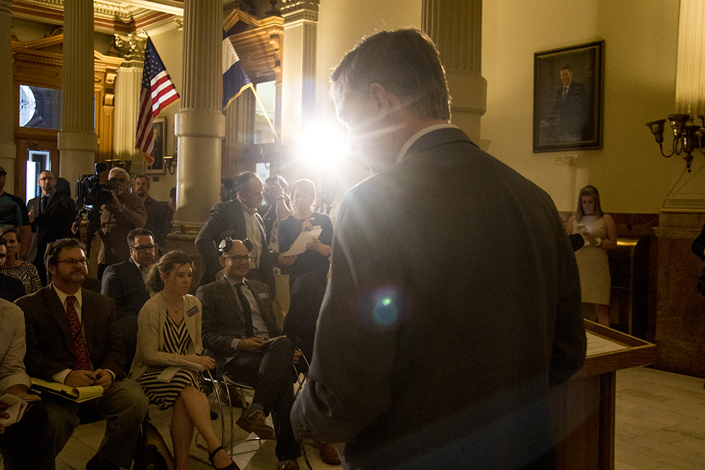 Governor John Hickenlooper before a press conference on a compromise bill to address issues surrounding construction defects, April 19, 2017. (Kevin J. Beaty/Denverite)denver; denverite; kevinjbeaty; colorado;