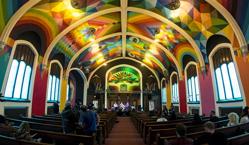The International Church of Cannabis' colorful painted ceiling. S. Logan Street, April 4, 2017. (Kevin J. Beaty/Denverite)  420; marijuana; international church of cannabis; washington park west; kevinjbeaty; denver; denverite; colorado;