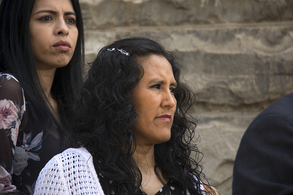 Jeanette Vizguerra makes a speech after being called one of Time Magazine's 100 most influential people, April 20, 2017. (Kevin J. Beaty/Denverite)  immigration; undocumented; sanctuary; first unitarian society; jeanette vizguerra; kevinjbeaty; denver; colorado; denverite;