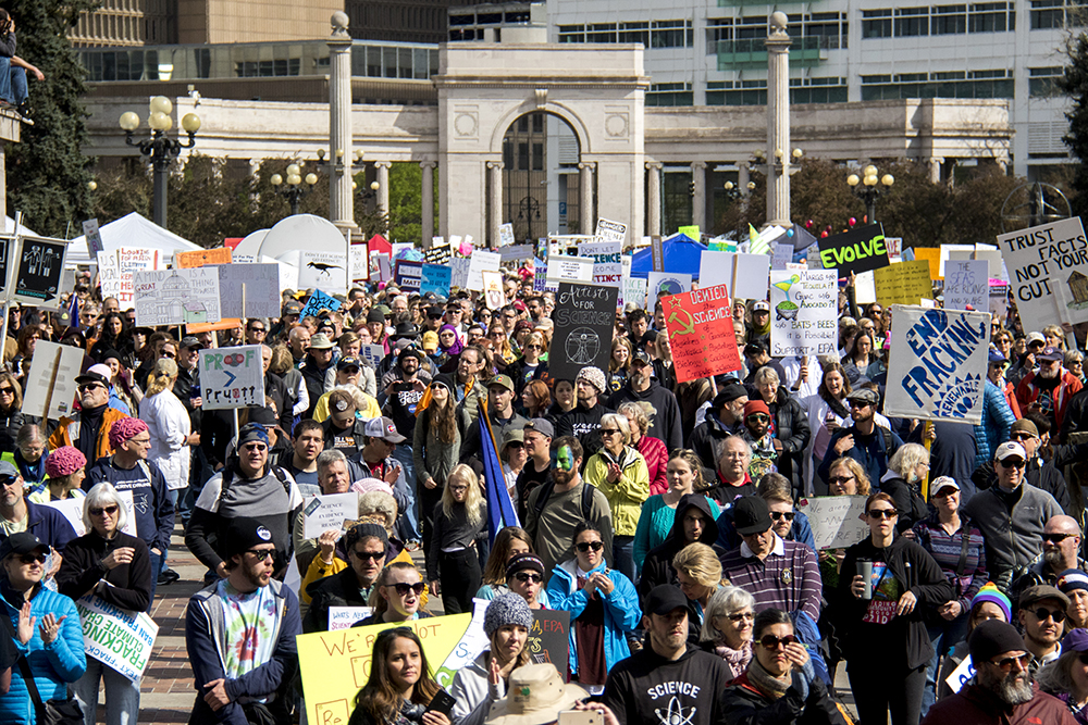 March for Science, April 22, 2017. (Kevin J. Beaty/Denverite)  march for science; civic center park; protest; denver; colorado; denverite; kevinjbeaty;