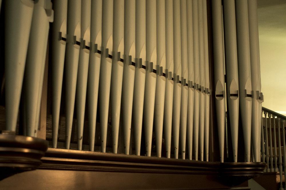 Old, defunct organ pipes. The Althea Center for Engaged Spirituality. (Kevin J. Beaty/Denverite)  althea center; church; cheesman park; denver; colorado; kevinjbeaty; denverite;
