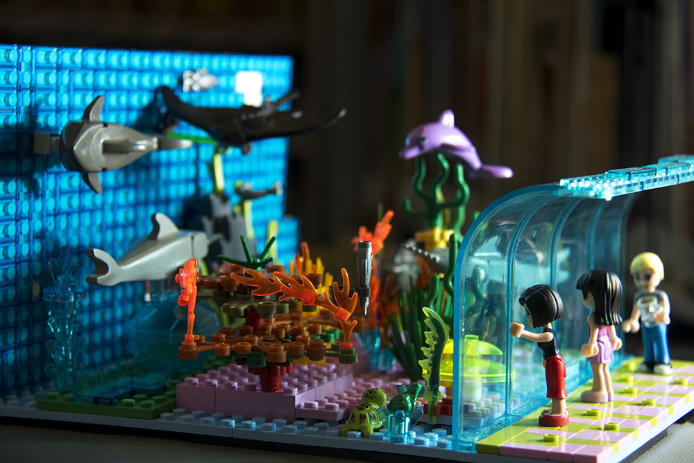 An aquarium in block form at the Bear Valley library, part of Denver Public Library's annual Lego contest. (Kevin J. Beaty/Denverite)