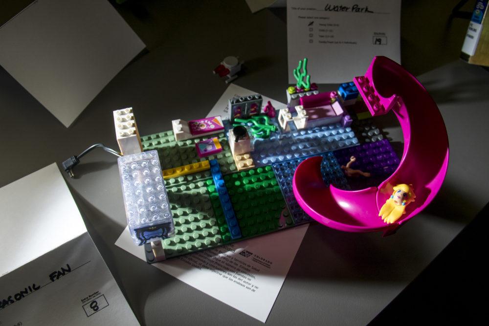 """Water Park,"" seen at ""Pine-apple,"" seen at the Rodolfo ""Corky"" Gonzales branch. Denver Public Library LEGO contest. (Kevin J. Beaty/Denverite)  lego; denver public library; toys; kevinjbeaty; denver; colorado; denverite;"