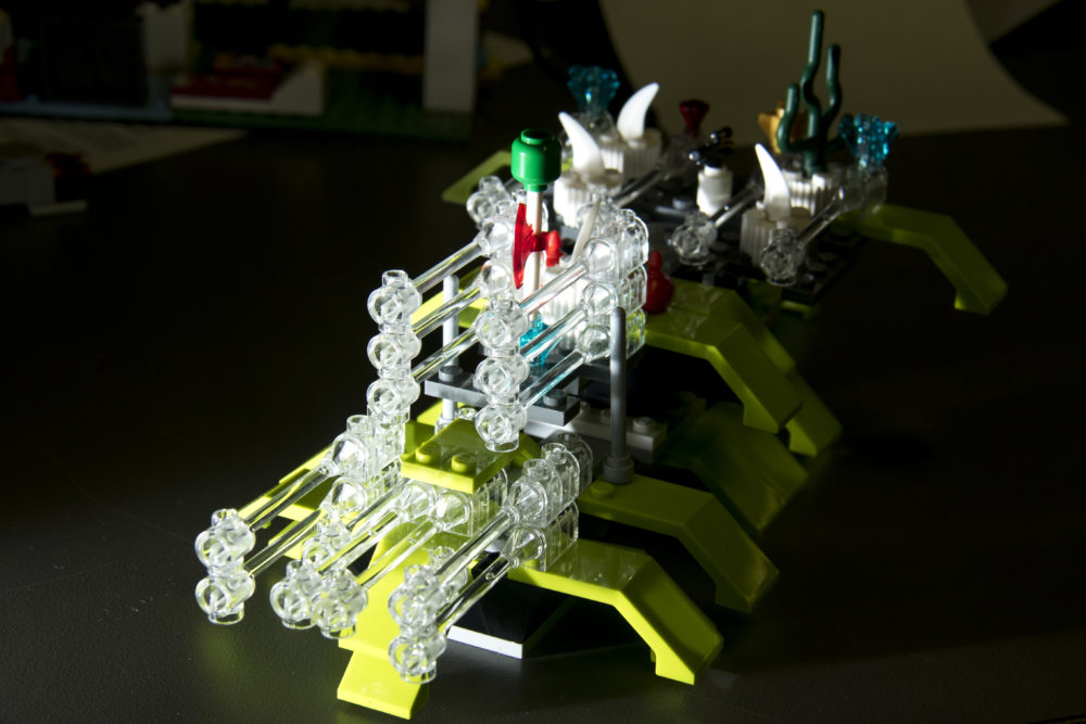 """The Wirt Destroyer"" intimidating the shelf at the Rodolfo ""Corky"" Gonzales branch. Denver Public Library LEGO contest. (Kevin J. Beaty/Denverite)  lego; denver public library; toys; kevinjbeaty; denver; colorado; denverite;"