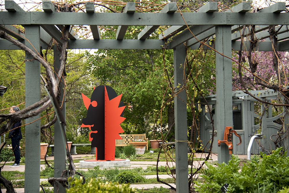 """A Two-Faced Guy,"" 1969. The opening of a show of Alexander Calder's work at the Denver Botanic Gardens, April 28, 2017. (Kevin J. Beaty/Denverite)  denver botanic gardens; alexander calder; art; sculpture; kevinjbeaty; museum; denver; denverite; colorado;"