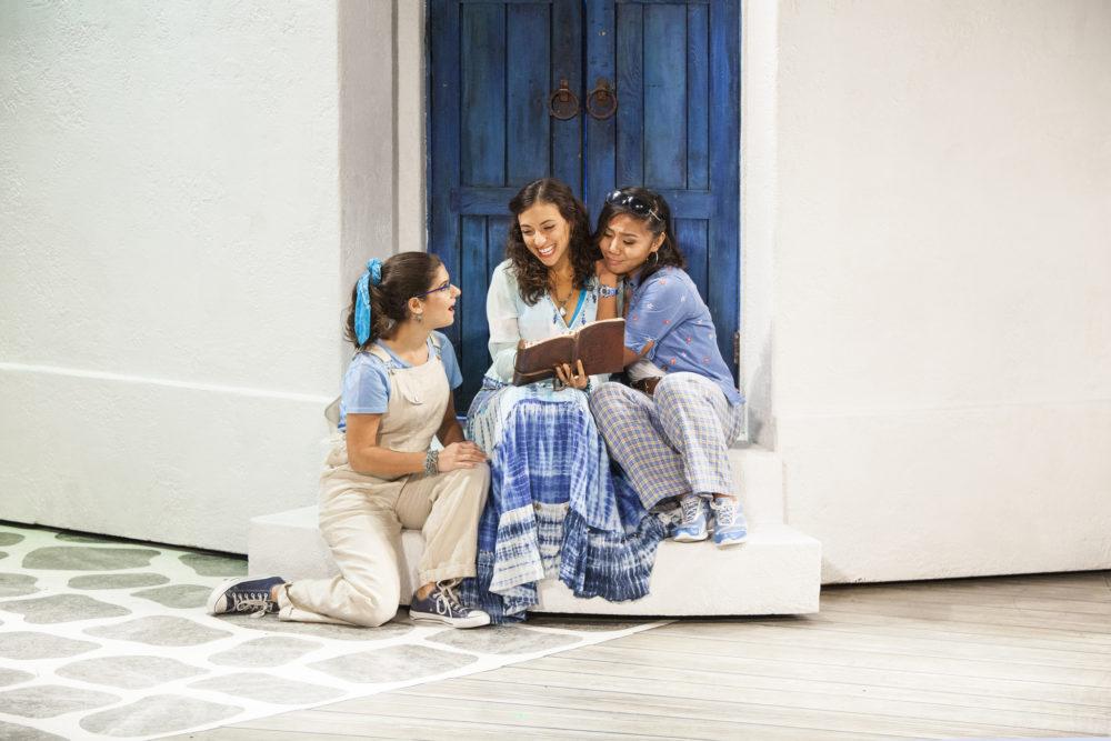 "Chloe Kounadis, Lizzie Markson and Niki Badua in the touring production of ""Mama Mia!"" (Photo: Kevin Thomas Garcia)"