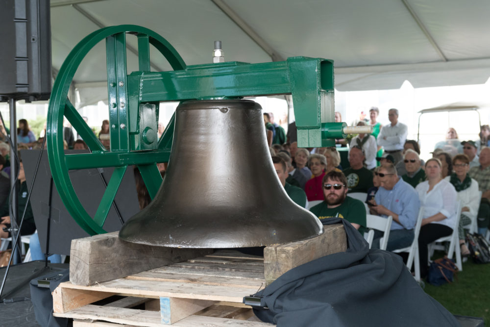 Alumni and friends of Colorado State University celebrate the return of the bell taken from Old Main on April 18, 2017. (Courtesy CSU)