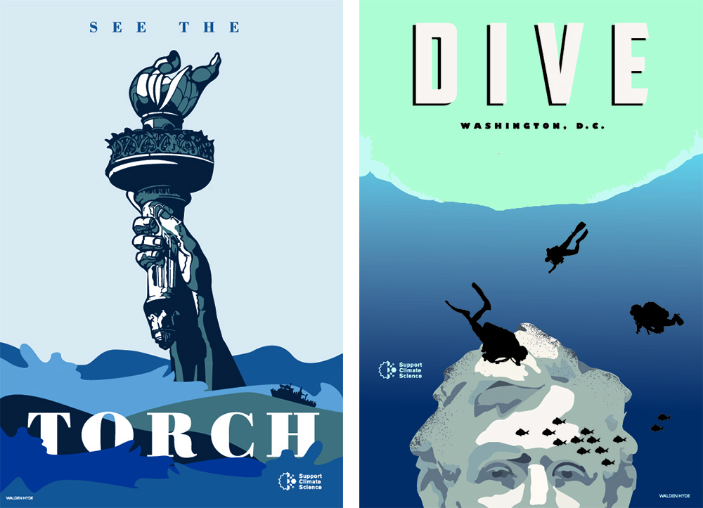 (Courtesy Walden Hyde)  climate change posters; climate march; science march; earth day;