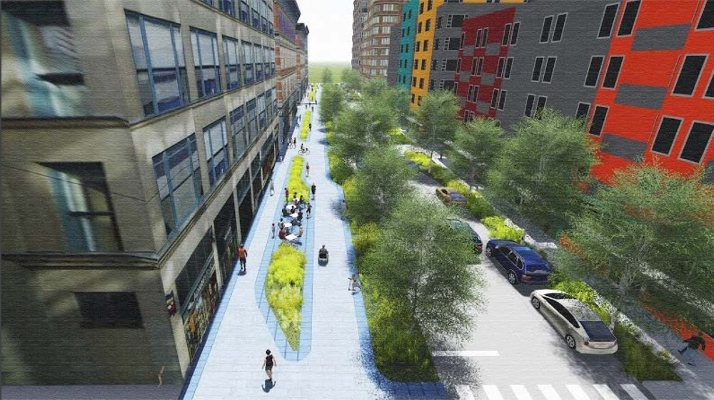 A re-imagined 21st Street. (Courtesy of Downtown Denver Partnership)