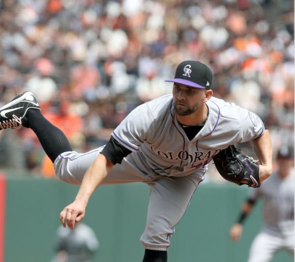 Tyler Chatwood pitched a complete-game, two hitter today. (Lance Iversen/USA Today Sports)