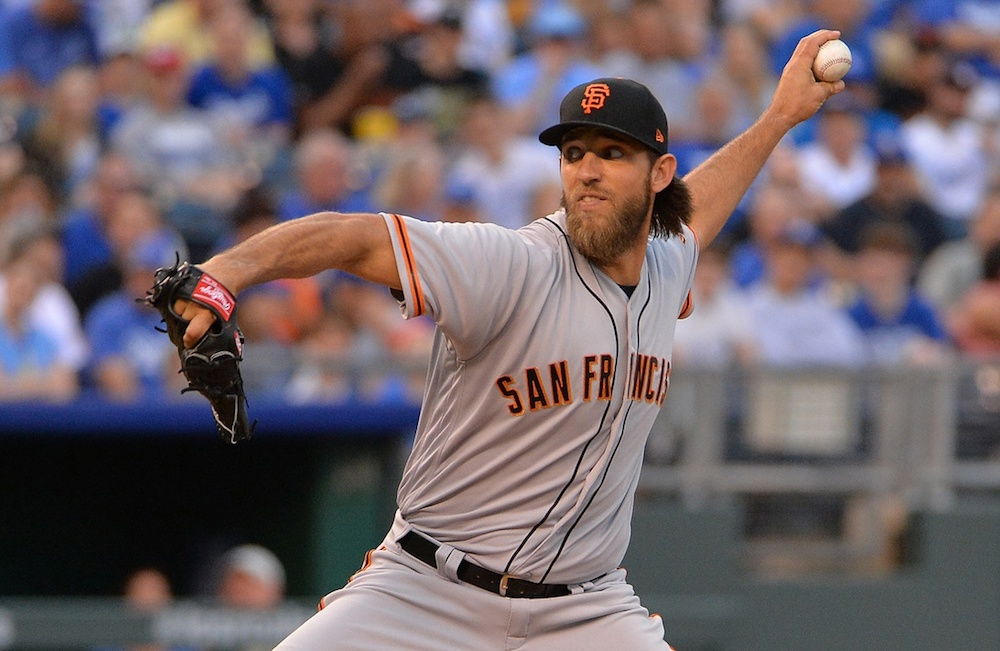 Madison Bumgarner injured himself in a dirt biking accident on Thursday in Denver. (Denny Medley/USA Today Sports)