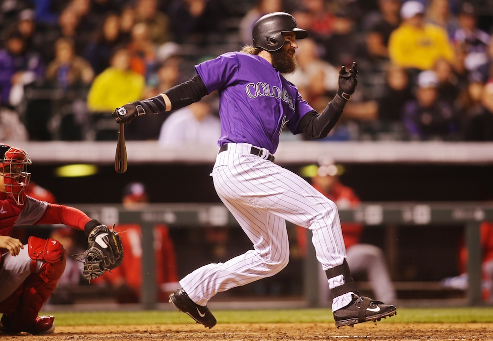 Charlie Blackmon's home run helped fuel a Rockies' come back Monday night. (Chris Humphreys/USA Today Sports)