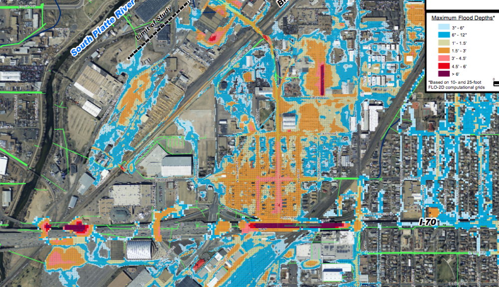 A city projection of flooding in Elyria and near the National Western Center in a 100-year storm. (City of Denver)