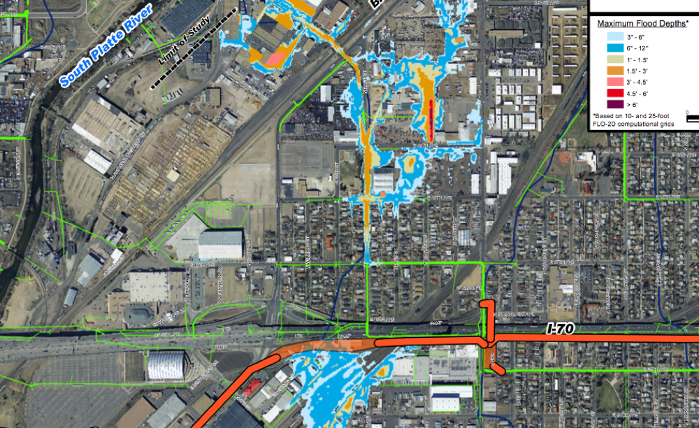 A city projection of flooding in Elyria and near the National Western Center after the Platte to Park Hill flood control project. (City of Denver)
