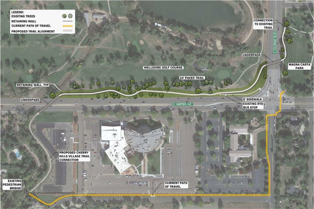 Denver plans for the High Line Canal reroute near Colorado and Hampden. (City of Denver)