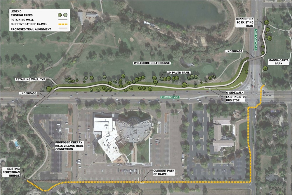 Denver plans for the High Line Canal reroute near Colorado and Hampden. (City of Denver)