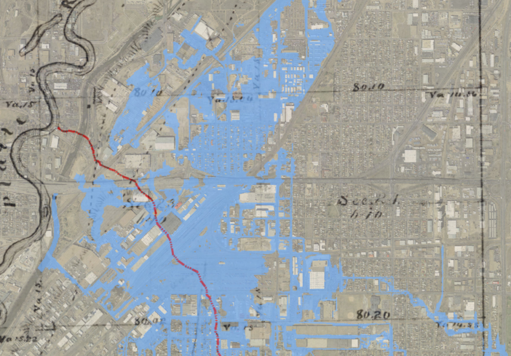 The red line marks the route of a creek surveyed in 1862. Blue areas represent potential flooding based on a computer simulation. (City of Denver)