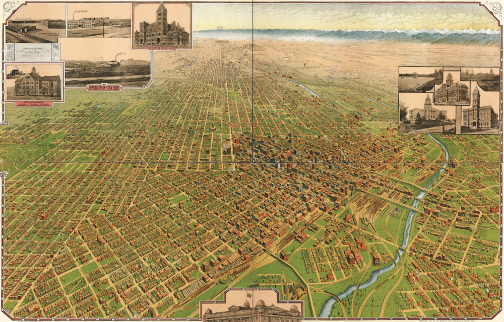 An overview of the city of Denver in 1908. (Library of Congress)