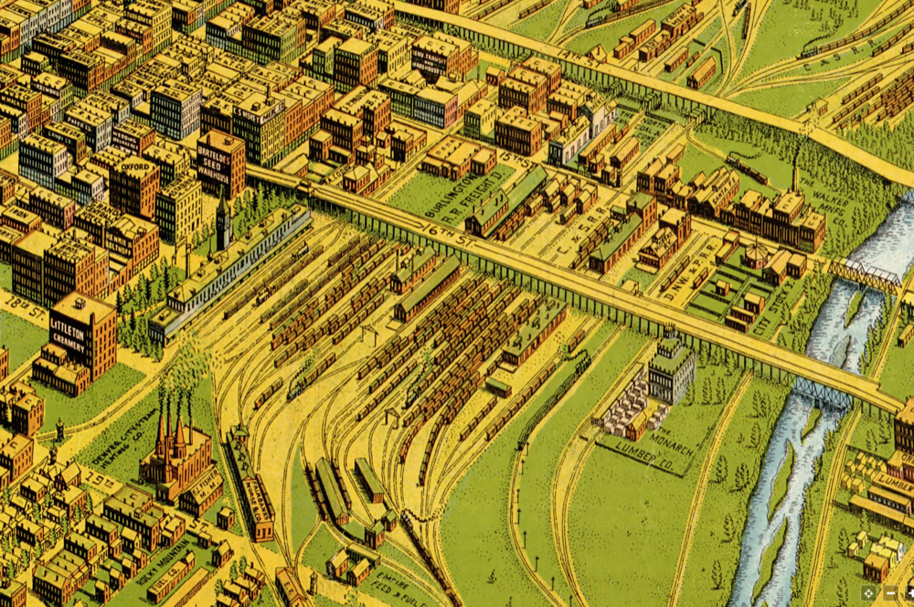 The railyards and viaducts behind Union Station in 1908. (Library of Congress)