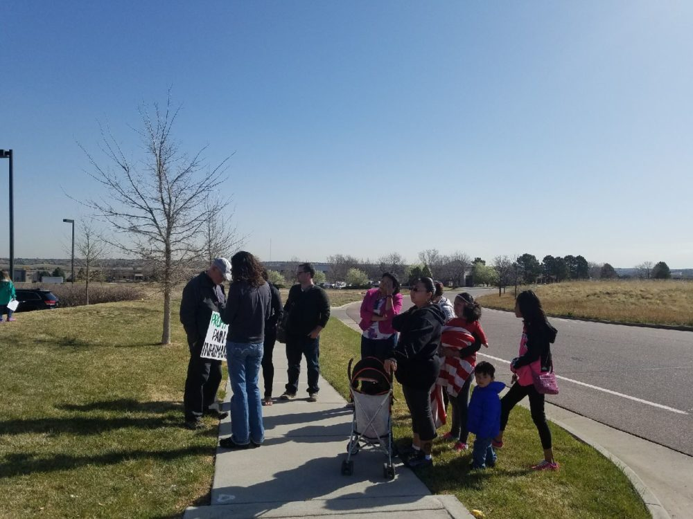 Supporters of Maria de Jesus Jimenez-Sanchez gather as she meets with ICE agents on Wednesday, April 12. She subsequently was detained. (Courtesy Roberto Vega)