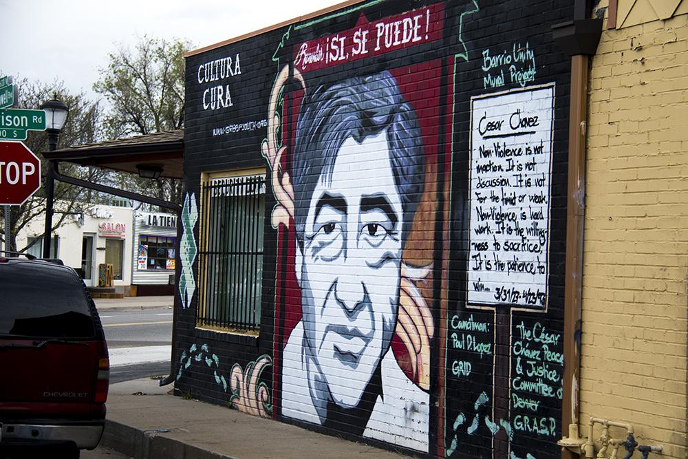 A mural of Cesar Chavez on the side of Hernandez Security Doors in Westwood. (Kevin J. Beaty/Denverite)  denver; colorado; graffiti; mural; street art; kevinjbeaty; denverite;