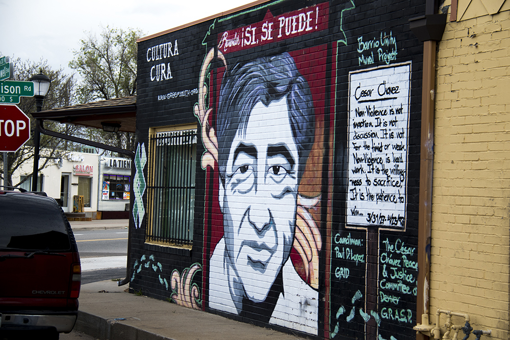 A mural of Cesar Chavez on the side of Hernandez Security Doors in Westwood. (Kevin J. Beaty/Denverite)  denver; colorado; graffiti; mural; street art; kevinjbeaty; denverite;