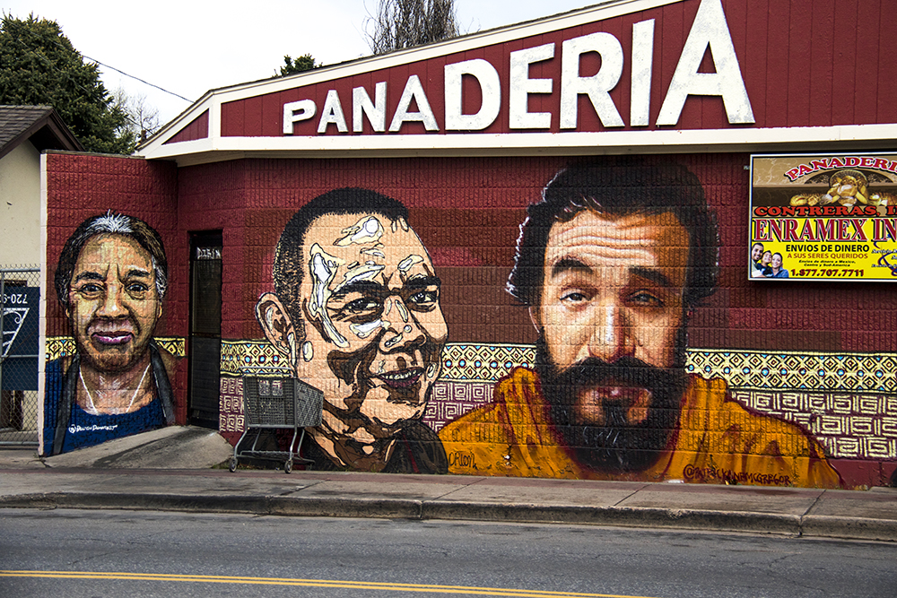 Murals on the side of the Contreras Panaderia in Westwood. (Kevin J. Beaty/Denverite)  denver; colorado; graffiti; mural; street art; kevinjbeaty; denverite;