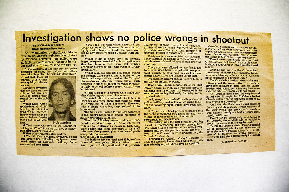 "A Rocky Mountain News clipping from March 1973 after activist Luis Martinez Jr. was killed in a police shootout. (Rocky Mountain News/Denver Public Library/Western History Collection/Rodolfo ""Corky"" Gonzales Papers)  denver public library; dpl; cinco de mayo; chicano; denverite; denver; colorado; archive;"