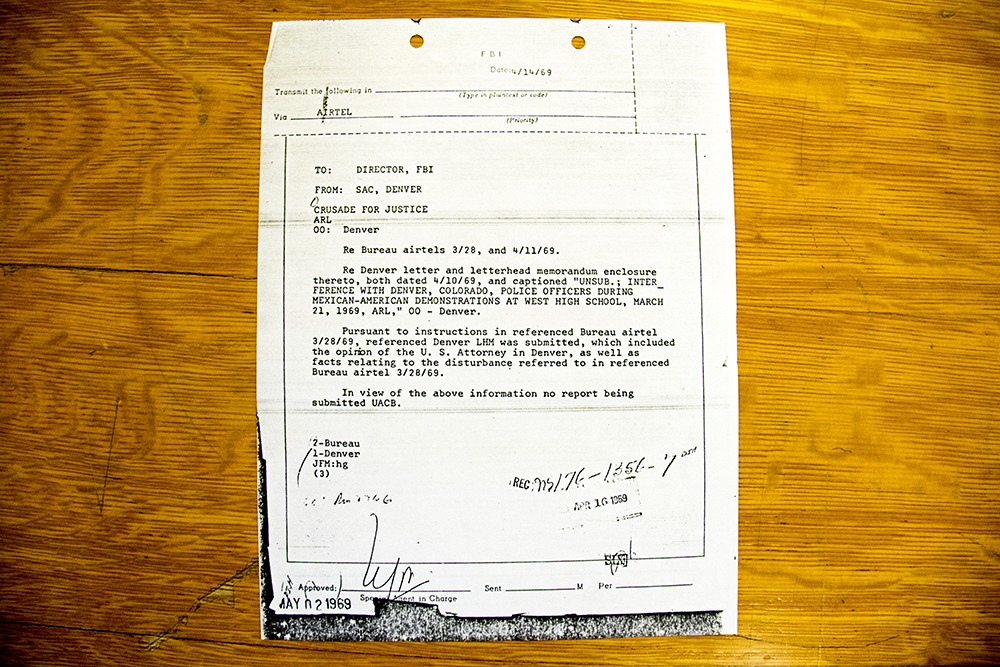 "The cover page of an FBI report on clashes between Mexican-American activists and Denver police at West High School in 1969. (Denver Public Library/Western History Collection/Rodolfo ""Corky"" Gonzales Papers)"
