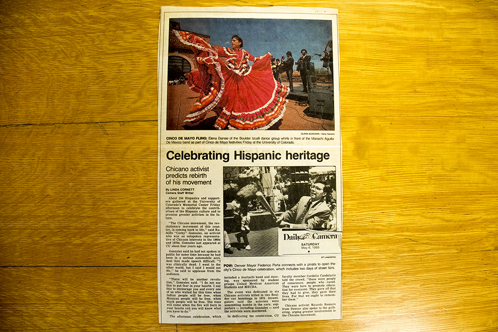 "A Boulder Daily Camera article from Cinco De Mayo, 1989, recording one of ""Corky"" Gonzales's later public appearances. (Boulder Daily Camera/Denver Public Library/Western History Collection/Rodolfo ""Corky"" Gonzales Papers)  denver public library; dpl; cinco de mayo; chicano; denverite; denver; colorado; archive;"