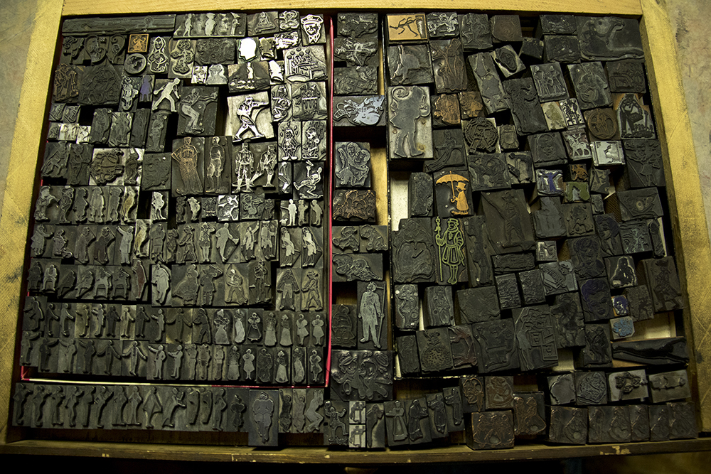 A collection of pictoral printing blocks - the original emoji - in Tom Parson's colleciton, May 4, 2017. (Kevin J. Beaty/Denverite)  letterpress; art; englewood; depot; tom parson; collector; kevinjbeaty; denverite; odd spot; denver; colorado