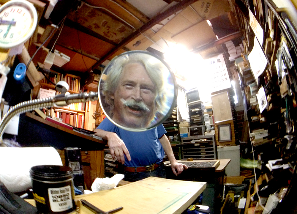 Tom Parson inside his massive collection of letterpress equipment. May 4, 2017. (Kevin J. Beaty/Denverite)  letterpress; art; englewood; depot; tom parson; collector; kevinjbeaty; denverite; odd spot; denver; colorado;