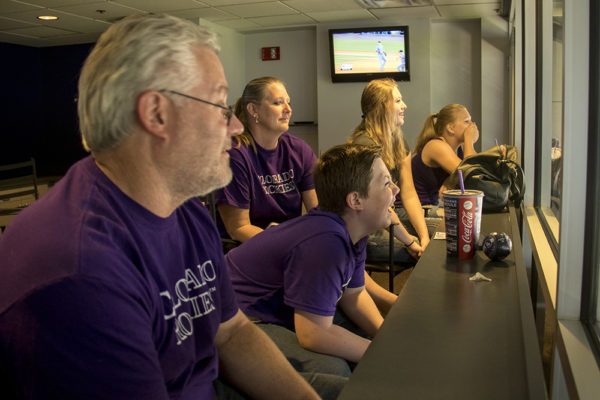 Erik West (center) and his dad Scott, mom Erika and sisters Madide and Sierra inside the Peanut Allergy Friendly Night box suite at Coors Field, May 5, 2017. (Kevin J. Beaty/Denverite)  colorado rockies; baseball; sports; coors field; peanut allergy; kevinjbeaty; denver; colorado; denverite;