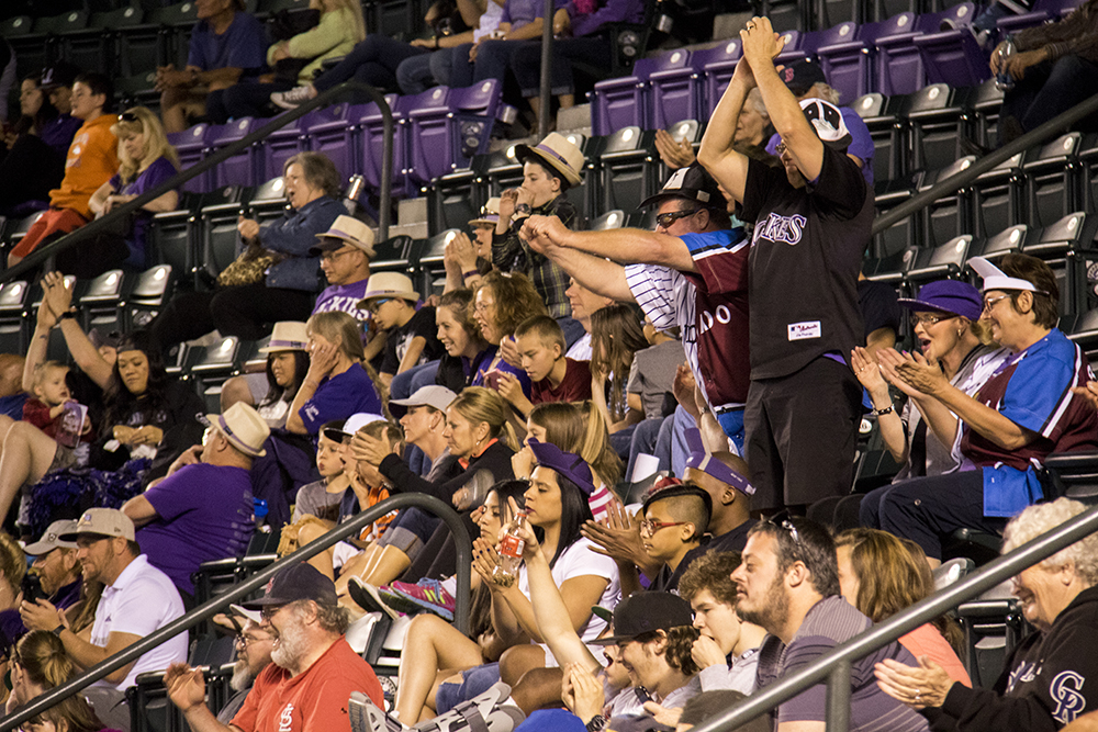 The crowd reacts to loaded bases at the end of a Rockies' bout against the Diamondbacks, May 5, 2017. (Kevin J. Beaty/Denverite)  colorado rockies; coors field; baseball; sports; kevinjbeaty; denverite; colorado; denver;