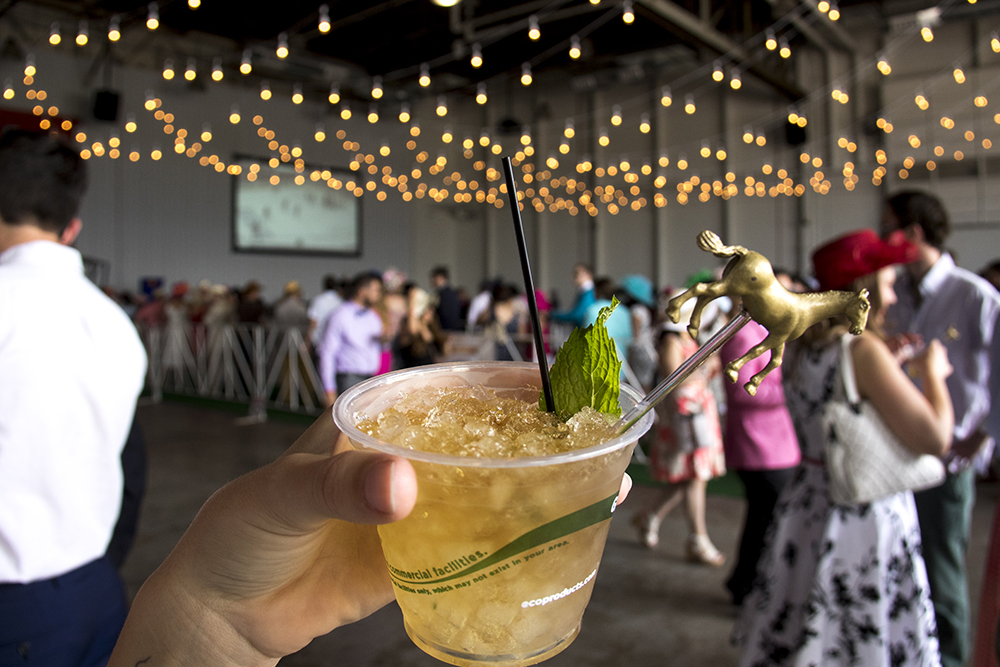 A mint julep at the Stanley Marketplace's Kentucky Derby party, May 6, 2017. (Kevin J. Beaty/Denverite)  stanley marketplace; kentucky derby; aurora; kevinjbeaty; denverite; colorado; drinks; nightlife;