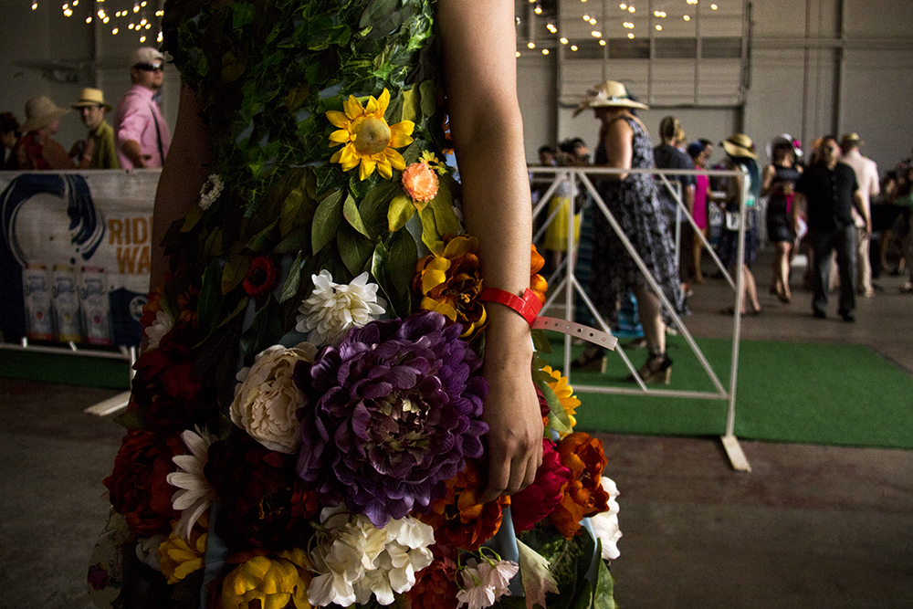 Maria Corretan and her floral dress. A Kentucky Derby party at Stanley Marketplace, May 6, 2017. (Kevin J. Beaty/Denverite)  stanley marketplace; kentucky derby; aurora; kevinjbeaty; denverite; colorado;