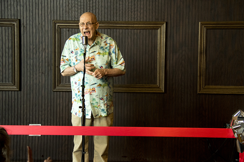 Yelling writer James Ellroy addresses the crowd. Media day at the new Alamo Drafthouse on West Colfax, May 8, 2017. (Kevin J. Beaty/Denverite)  Alamo Drafthouse; food; nightlife; movie theater; cinema; sloans lake; west colfax; kevinjbeaty; denver; colorado; denverite;