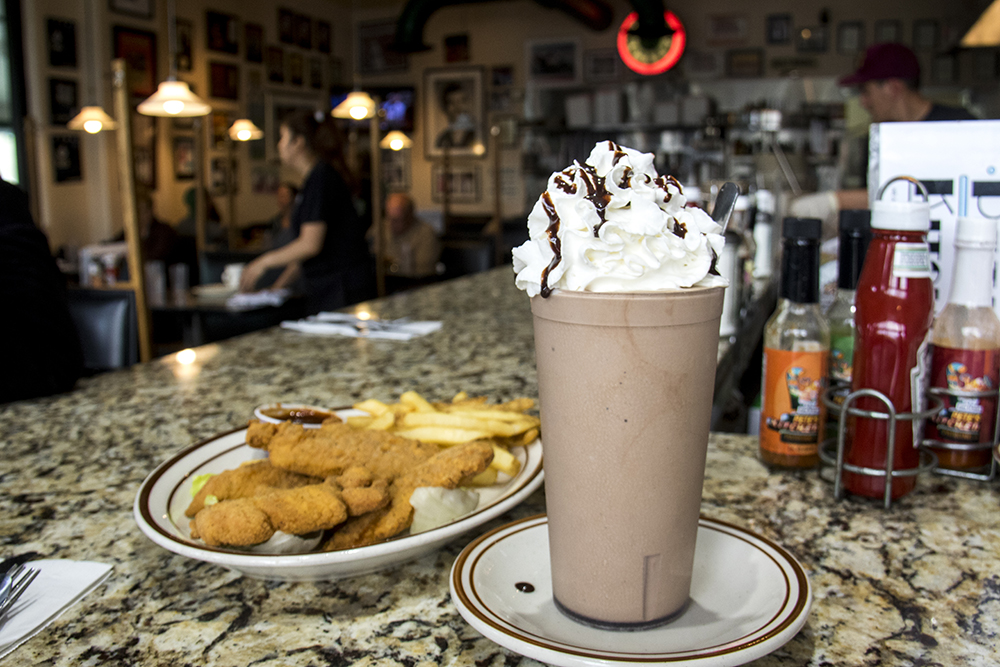 A chocolate milkshake served at Pete's Kitchen's counter. (Kevin J. Beaty/Denverite)  denver; colorado; denverite; food; milkshake; colfax; pete's kitchen' diner; kevinjbeaty;