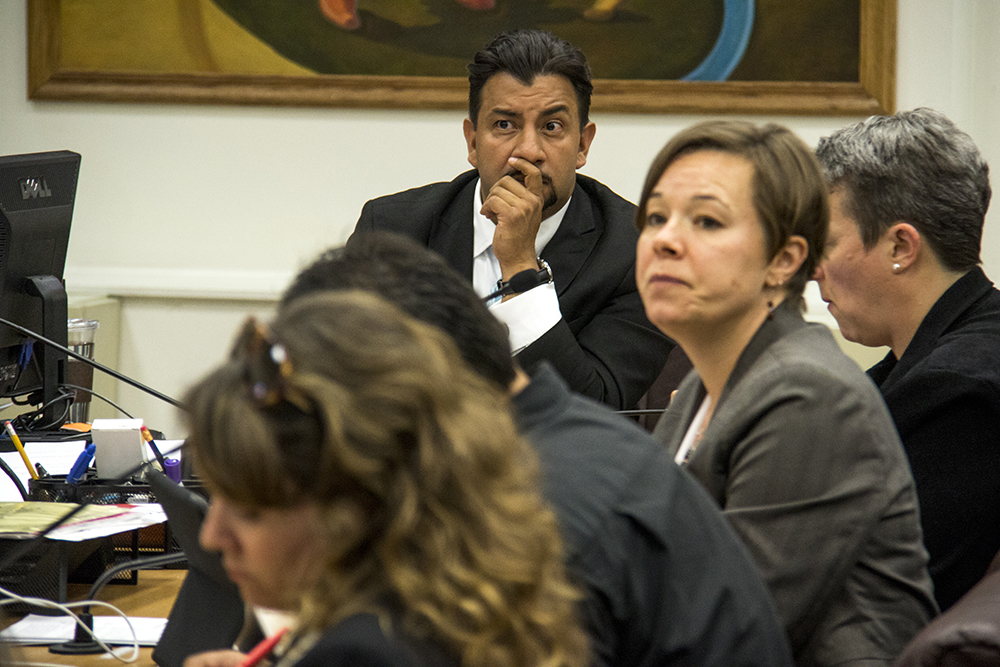 City council members Paul Lopez and Robin Kniech. A city council committee meeting on sentencing reform as it relates to undocumented immigrants, May 11, 2017. (Kevin J. Beaty/Denverite)  denver; city council; city and county building; kevinjbeaty; denverite; colorado;