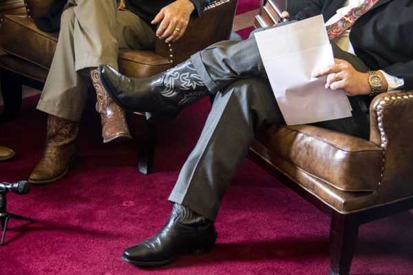 There were at least two sets of cowboy boots in the Colorado State Capitol Senate President's office on May 11, 2017. (Kevin J. Beaty/Denverite)  senate; republicans; copolitics; politics; capitol; legislature; kevinjbeaty; denver; colorado; denverite;