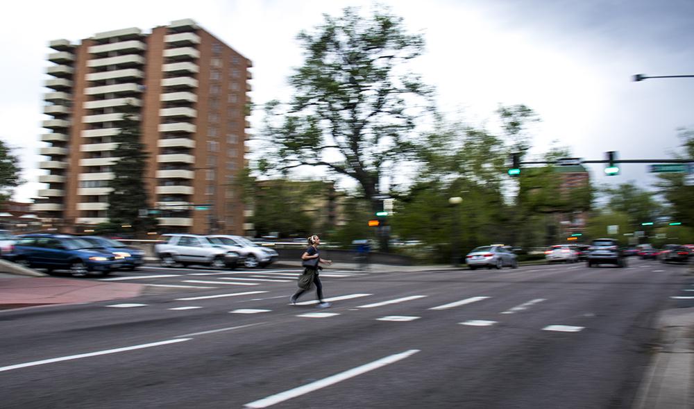 The intersection of Speer Boulevard and Downing Street, May 16, 2017. (Kevin J. Beaty/Denverite)  pedestrians; walkability; kevinjbeaty; denver; colorado; denverite;