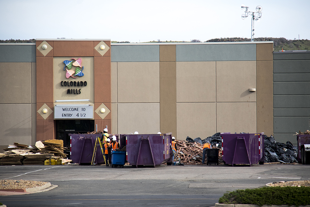 Entry 4 1/2. Colorado Mills, closed due to severe weather damage, May 17, 2017. (Kevin J. Beaty/Denverite)  colorado mills mall; hail damage; lakewood; denver; colorado; kevinjbeaty; denverite;