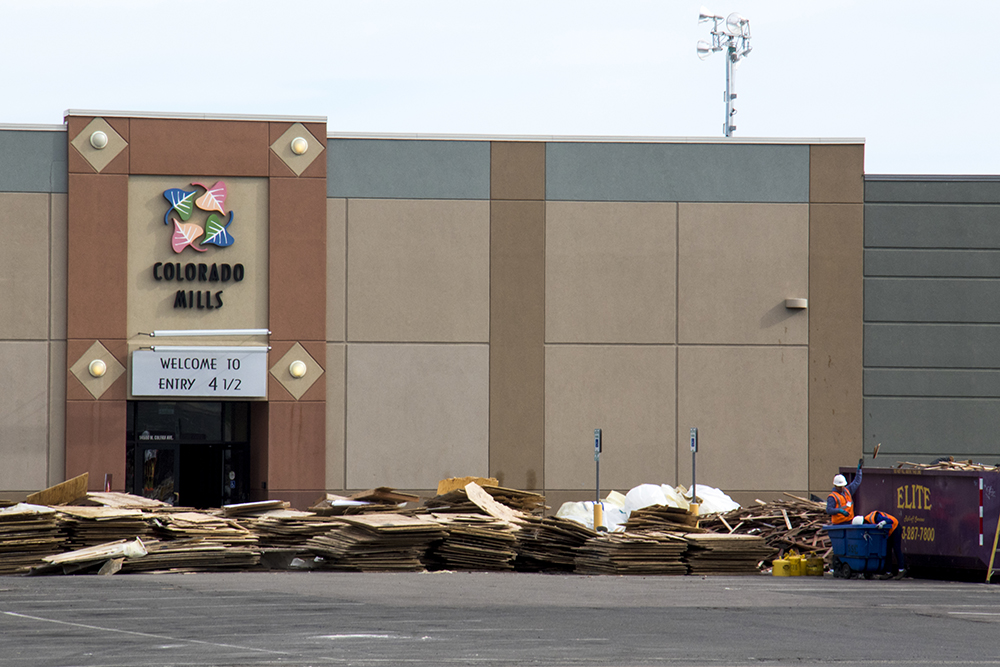 """Welcome to entry 4 1/2."" Colorado Mills, closed due to severe weather damage, May 17, 2017. (Kevin J. Beaty/Denverite)  colorado mills mall; hail damage; lakewood; denver; colorado; kevinjbeaty; denverite;"