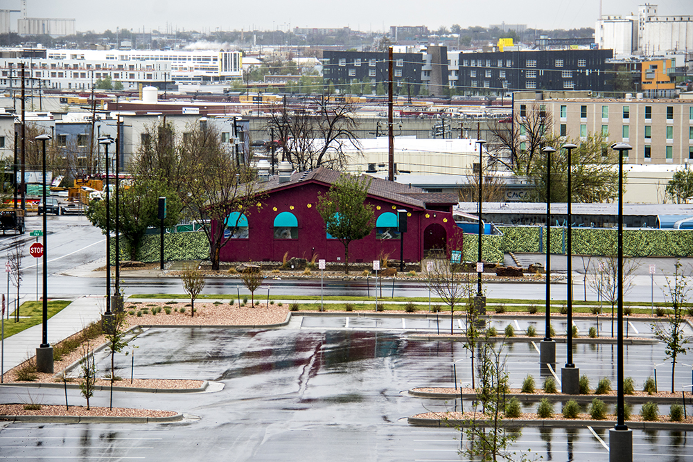 The intersection of 41st Avenue and Fox Street as seen from a pedestrian bridge over nearby train tracks, May 18, 2017. (Kevin J. Beaty/Denverite)