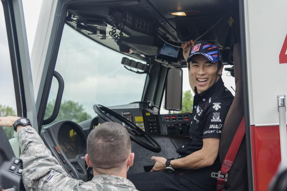 Takuma Sato at Scott Air Force Base on May 3, 2017. (Airman Chad Gorecki/U.S. Air Force)