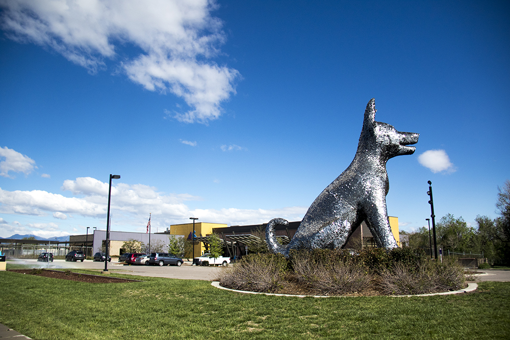 """Sun Spot"" by Laura Haddad and Tom Drugan at the Denver Animal Shelter in Valverde. (Kevin J. Beaty/Denverite)  public art; denver; colorado; denverite; kevinjbeaty; valverde;"
