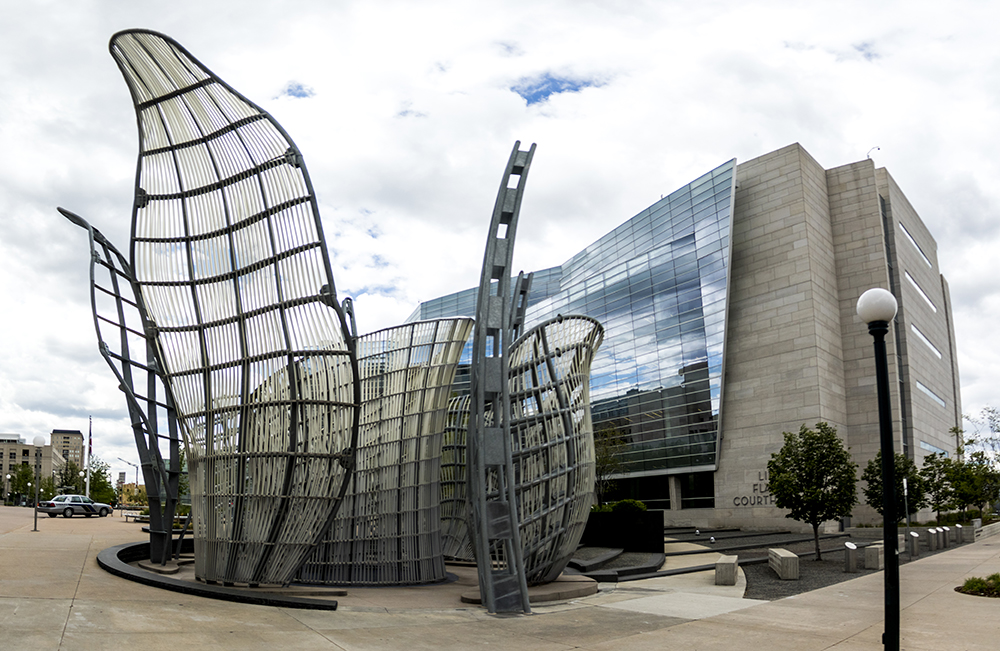 """Light Chamber"" by Dennis Oppenheim in front of the Lindsey Flanigan Courthouse on Colfax Avenue. (Kevin J. Beaty/Denverite)"
