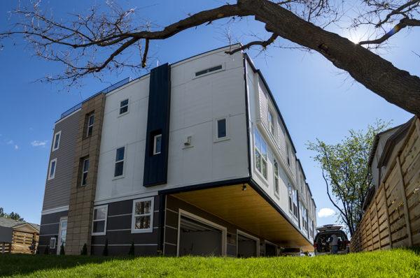 A new residential development on Irving Street in West Colfax. (Kevin J. Beaty/Denverite)  slot homes; residential real estate; construction; development; fugly; west colfax; denver; colorado; kevinjbeaty; denverite