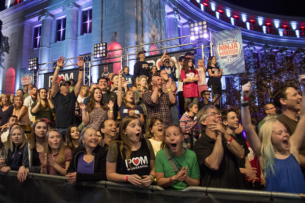 The crowd goes wild. American Ninja Warrior finals shoot in front of the City and County Building, May 25, 2017. (Kevin J. Beaty/Denverite)  american ninja warrior; civic center park; denver; denverite; colorado; kevinjbeaty